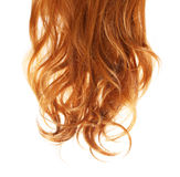 Krul Rood die Haar op wit wordt geïsoleerd royalty-vrije stock foto's