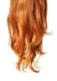 Krul Rood die Haar op witte achtergrond wordt geïsoleerd stock foto