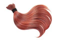 Krul van natuurlijk rood die haar, op witte achtergrond wordt geïsoleerd Paardestaart dichte omhooggaand stock foto's