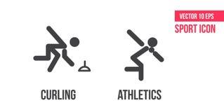 Krulla och friidrottteckensymbol Ställ in av sportvektorlinjen symboler, logo Krulla och friidrottpictogram royaltyfri illustrationer