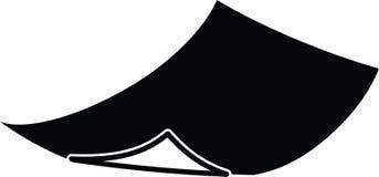 Krullad pappers- symbol i svart färg Stock Illustrationer