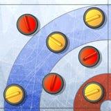 Krullande vinterlek Is och sten, lag och isbana, borsta för konkurrens och snedsteg, plan vektorillustration stock illustrationer