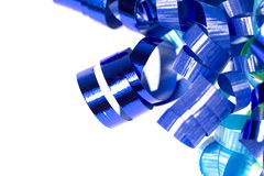 Krullend blauw geïsoleerdl lint Royalty-vrije Stock Foto