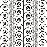 Krullend bloemen naadloos patroon, zwart-witte vectorachtergrond Royalty-vrije Stock Foto's