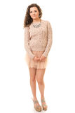 Krullend Brunette in Roze Mini Skirt royalty-vrije stock afbeeldingen