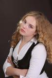 Krullend haarmeisje Stock Foto's