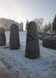 Krullende bomen onder sneeuw Stock Fotografie