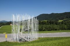 Krumbach Busstop Sou Fuijmoto. Krumbach, Austria - July 22, 2017: Busstop by architect Sou Fuijmoto in Krumbach, Bregenzer Wald, Austria Stock Photo