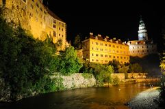 Krumlov castle in the night Stock Images