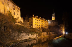 Krumlov Castle at night, Czech Republic. Royalty Free Stock Photo