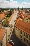 Krumlov ouses在布拉格,捷克,看法从上面临近老镇中心 库存照片