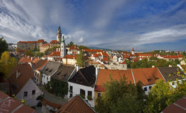 Krumlov. The roofs of the old town. Stock Photo