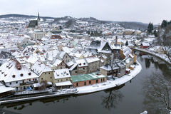 Krumlov in snow Royalty Free Stock Images
