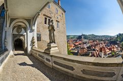 Krumlov town from castle bridge , Czech Royalty Free Stock Photo