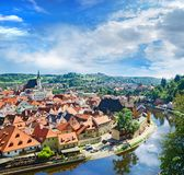 Krumlov town from castle , Czech Royalty Free Stock Images