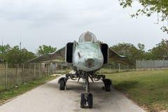 KRUMOVO, PLOVDIV, BUŁGARIA - 29 2017 KWIECIEŃ: bombowiec Mikoyan-Gurevich MiG-23 w lotnictwa muzeum blisko Plovdiv lotniska Obraz Royalty Free