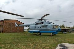 KRUMOVO, PLOVDIV, BUŁGARIA - 29 2017 KWIECIEŃ: Przewieziony helikopter Mil Mi-8 w lotnictwa muzeum blisko Plovdiv lotniska Zdjęcie Royalty Free