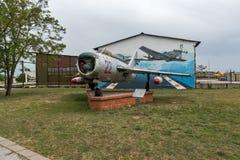 KRUMOVO, PLOVDIV, BUŁGARIA - 29 2017 KWIECIEŃ: Wojownika Mikoyan-Gurevich MiG-17 lotnictwa muzeum blisko Plovdiv lotniska Zdjęcia Royalty Free