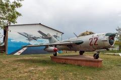 KRUMOVO, PLOVDIV, BUŁGARIA - 29 2017 KWIECIEŃ: Wojownika Mikoyan-Gurevich MiG-17 lotnictwa muzeum blisko Plovdiv lotniska Zdjęcie Royalty Free