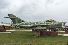 KRUMOVO, PLOVDIV, BUŁGARIA - 29 2017 KWIECIEŃ: Wojownika Mikoyan-Gurevich MiG-17 lotnictwa muzeum blisko Plovdiv lotniska Zdjęcia Stock
