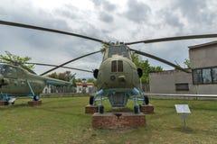 KRUMOVO PLOVDIV, BULGARIEN - 29 APRIL 2017: helikopter Mi 4 i flygmuseum nära den Plovdiv flygplatsen Arkivbilder