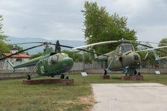 KRUMOVO PLOVDIV, BULGARIEN - 29 APRIL 2017: helikopter Mi 1 i flygmuseum nära den Plovdiv flygplatsen Royaltyfria Foton