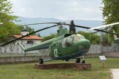 KRUMOVO PLOVDIV, BULGARIEN - 29 APRIL 2017: helikopter Mi 1 i flygmuseum nära den Plovdiv flygplatsen Arkivbilder