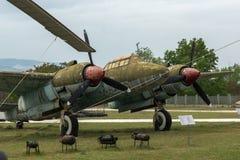 KRUMOVO, PLOWDIW, BULGARIEN - 29. APRIL 2017: Bomber-Tupolev Tu-2 im Luftfahrt-Museum nahe Plowdiw-Flughafen stockfotografie