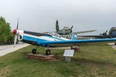 KRUMOVO, PLOWDIW, BULGARIEN - 29. APRIL 2017: Flaches Z-326A im Luftfahrt-Museum nahe Plowdiw-Flughafen stockbilder