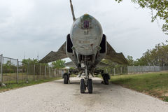 KRUMOVO, PLOWDIW, BULGARIEN - 29. APRIL 2017: Jagdbomber Mikoyan-Gurevich MiG-23 im Luftfahrt-Museum nahe Plowdiw-Flughafen stockfotos