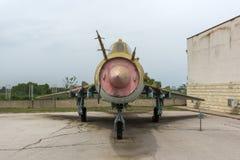 KRUMOVO, PLOWDIW, BULGARIEN - 29. APRIL 2017: Jagdbomber Sukhoi Su-22 im Luftfahrt-Museum nahe Plowdiw-Flughafen lizenzfreie stockfotos