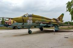 KRUMOVO, PLOWDIW, BULGARIEN - 29. APRIL 2017: Jagdbomber Sukhoi Su-22 im Luftfahrt-Museum nahe Plowdiw-Flughafen lizenzfreies stockfoto