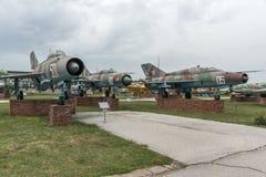 KRUMOVO, PLOWDIW, BULGARIEN - 29. APRIL 2017: Kämpfer Mikoyan-Gurevich MiG-21 im Luftfahrt-Museum nahe Plowdiw-Flughafen stockbilder