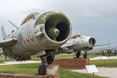 KRUMOVO, PLOWDIW, BULGARIEN - 29. APRIL 2017: Kämpfer Mikoyan-Gurevich MiG-19 im Luftfahrt-Museum nahe Plowdiw-Flughafen lizenzfreies stockbild