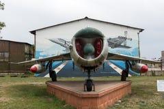 KRUMOVO, PLOWDIW, BULGARIEN - 29. APRIL 2017: Luftfahrt-Museum Kämpfer Mikoyan-Gurevich MiG-17 nahe Plowdiw-Flughafen stockbilder