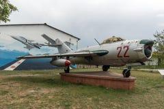 KRUMOVO, PLOWDIW, BULGARIEN - 29. APRIL 2017: Luftfahrt-Museum Kämpfer Mikoyan-Gurevich MiG-17 nahe Plowdiw-Flughafen lizenzfreies stockbild