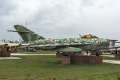KRUMOVO, PLOWDIW, BULGARIEN - 29. APRIL 2017: Luftfahrt-Museum Kämpfer Mikoyan-Gurevich MiG-17 nahe Plowdiw-Flughafen stockfotos