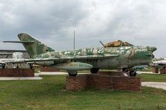 KRUMOVO, PLOWDIW, BULGARIEN - 29. APRIL 2017: Luftfahrt-Museum Kämpfer Mikoyan-Gurevich MiG-17 nahe Plowdiw-Flughafen lizenzfreie stockfotografie