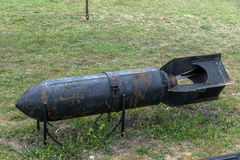 KRUMOVO, PLOWDIW, BULGARIEN - 29. APRIL 2017: Luftfahrtbombe im Luftfahrt-Museum nahe Plowdiw-Flughafen lizenzfreie stockfotografie