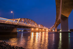 Krung Thep Bridge or Bangkok Bridge, the metal bridge over Chao Stock Photography