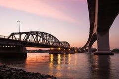 Krung Thep Bridge or Bangkok Bridge, the metal bridge over Chao Royalty Free Stock Images