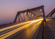 Krungthep Bridge beam light in the evening Royalty Free Stock Photography