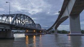 Krungthep Bridge at twilights stock video