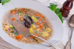 Krupnik – Polish Pearl Barley Soup Stock Photos
