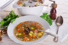 Krupnik – Polish Pearl Barley Soup Royalty Free Stock Photography