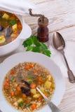 Krupnik – Polish Pearl Barley Soup Stock Image