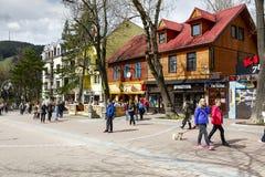 Krupowki街道在扎科帕内 图库摄影