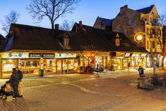 Krupowki street at night in Zakopane Royalty Free Stock Photo