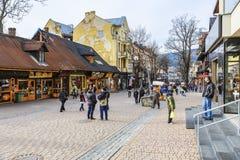 Krupowki ulica w Zakopane Zdjęcia Stock