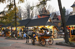Krupowkistraat in Zakopane polen Stock Fotografie